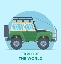 Offroad Vehicle with mud tire and roof rack vector image vector image