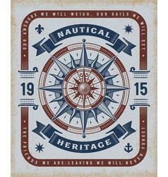 vintage nautical heritage typography vector image