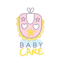 baby care logo design emblem with pink baby bib vector image vector image