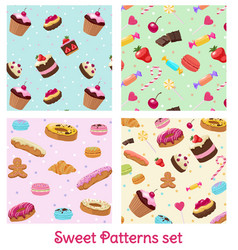 colorful pastry and confectionery patterns set vector image vector image