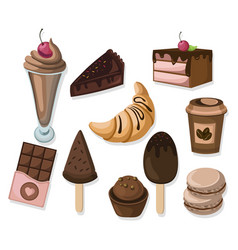 delicious dessert chocolate cakes and croissant vector image