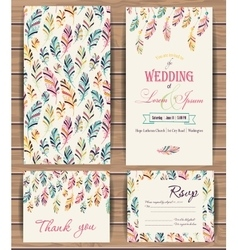 Greeting cards with feather vector image vector image