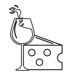 Line glass splashing wine with cheese icon vector