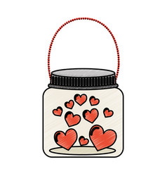 mason jar with hearts isolated icon vector image