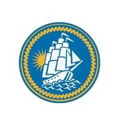 Sailing Tall Ship Galleon Retro vector image vector image