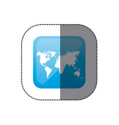 sticker color square frame with world map vector image