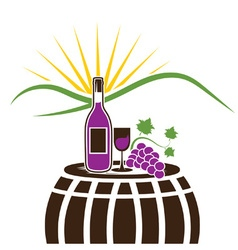 wine bottlewineglass and grape on the background vector image