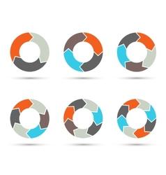 Circle arrows set for infographic diagram vector