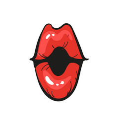 opened woman red lips mouth wow isolated on white vector image
