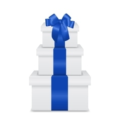 Stack of three realistic white gift boxes with vector image