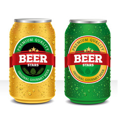 beer can design template with many water drops vector image
