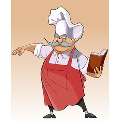 cartoon chef stands and looks in the book vector image