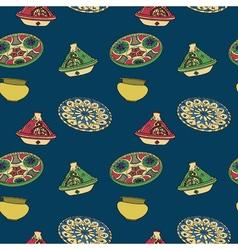 Colorful seamless pattern of arabic crockery vector