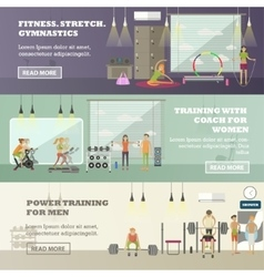Fitness center horizontal banners set Sport vector image vector image