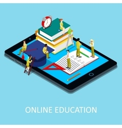 Isometric Online Education Concept with Students vector image