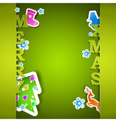 Merry Xmas card with flakes vector image vector image