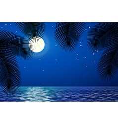 Sea landscape with the moon and palm trees vector image vector image