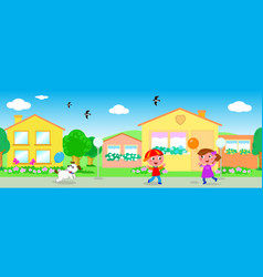 seamless line of houses and children vector image