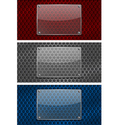 transparent glass plate on metal perforated vector image