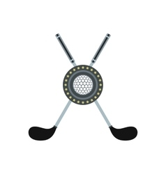 Two crossed golf clubs and a ball flat icon vector image