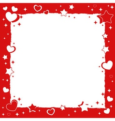 Valentine love romantic frame with hearts and star vector image vector image