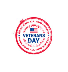 veteran day grunge rubber stamp on white vector image