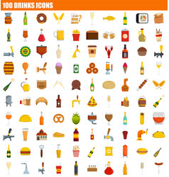 100 drinks icon set flat style vector image