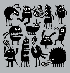 Abstract kids fear monster character black vector