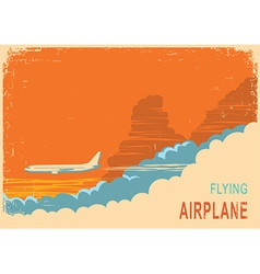 Aircraft and sky retro poster background on old vector image