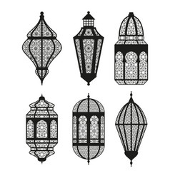arabic or islamic lanterns set black collection vector image