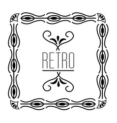 art deco floral cover frame victorian retro style vector image