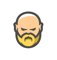bald man with beard cartoon vector image