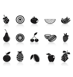 Black fruit icons set vector
