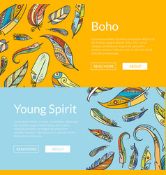 boho doodle feathers web banner templates vector image