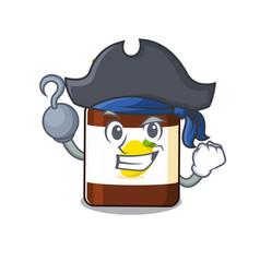 Bottle vitamin c cartoon design in a pirate vector