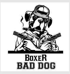 Boxer with two guns and cigar - boxer gangster vector