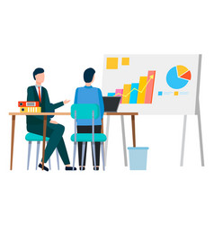 Business seminar people whiteboard with info vector