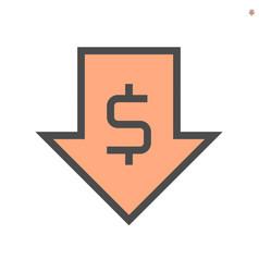 Capital decrease concept icon design 48x48 pixel vector
