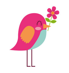 Cartoon cute bird with flower in beak vector