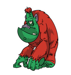 cartoon sullen green gorilla vector image