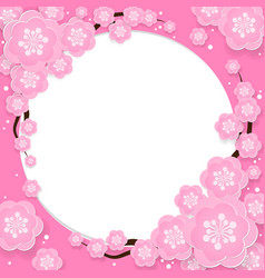 Cherry blossom frame with your copy space vector