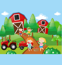 children pick up fruit in the farm vector image