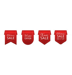 christmas sale red ribbons old labels with xmas vector image