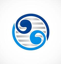 Circle yin yang abstract swirl logo vector