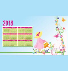 color flowers 2018 year calendar vector image