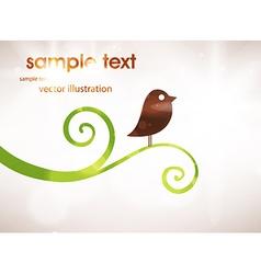 Cute Bird on Branch Background vector