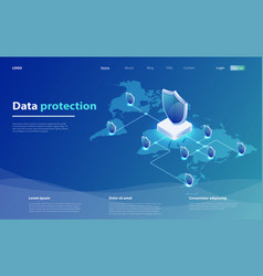 data protection concept network data security vector image