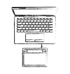 desktop computer and digitizer tablet connection vector image