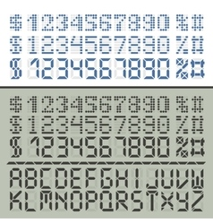 Extened digital font numbers and letters vector image
