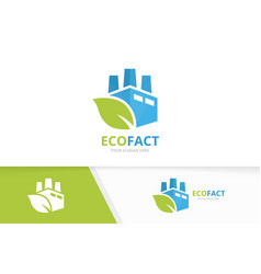 Factory and leaf logo combination industry vector